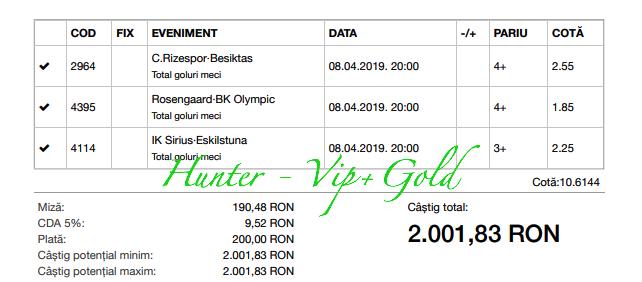 Bilet Vip+Gold cu castig 2000 lei