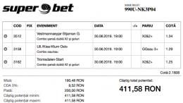Biletul Zilei 30.06.2019 - Cota 2