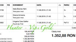 Bilet Vip+Gold cu castig 1352 lei