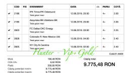 Bilet Vip+Gold cu castig 9775 lei