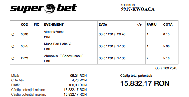 Biletul Bomba de azi 06.07.2019