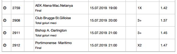 20 ponturi fotbal 15.07.2019 pentru biletul zilei