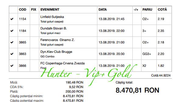 Bilet Vip+Gold cu castig 8470 lei