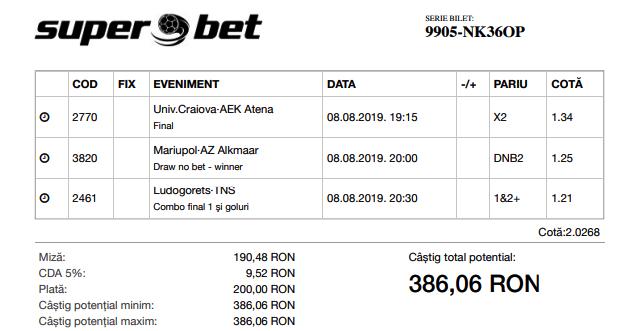 Biletul Zilei 08.08.2019 - Cota 2