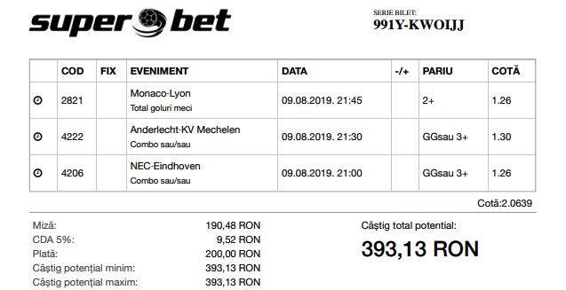 Biletul Zilei 09.08.2019 - Cota 2