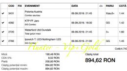 Bilet Vip+Gold cu castig 894 lei
