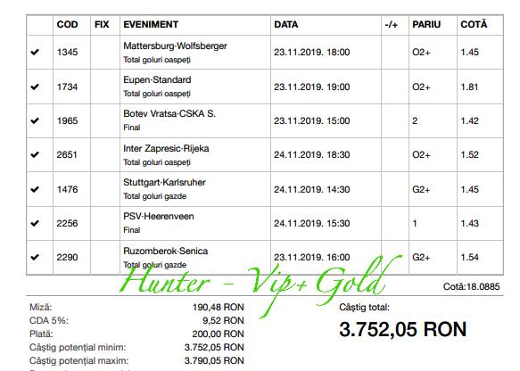 Bilet Vip+Gold cu castig 3752 lei - 24.11.2019