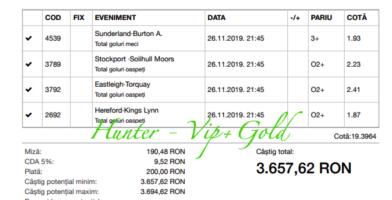 Bilet Vip+Gold cu castig 3657 lei - 26.11.2019