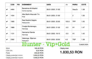 Bilet Vip+Gold cu castig 1830 lei - 09.01.2020