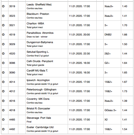 30 ponturi fotbal 11.01.2020 pentru biletul zilei
