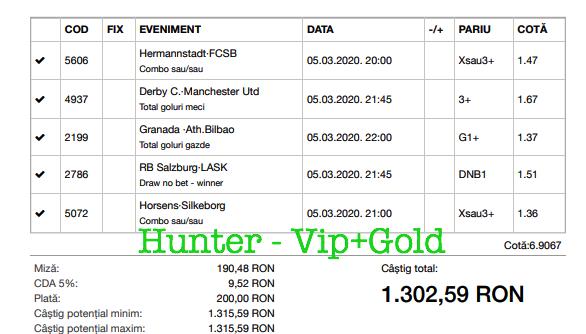 Bilet Vip+Gold cu castig 1302 lei - 06.03.2020