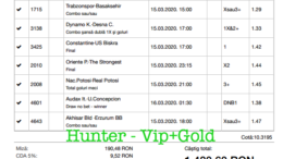 Bilet Vip+Gold cu castig 1480 lei - 16.03.2020