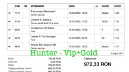 Bilet Vip+Gold cu castig 972 lei - 16.03.2020