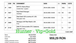 Bilet Vip+Gold cu castig 959 lei - 30.04.2020