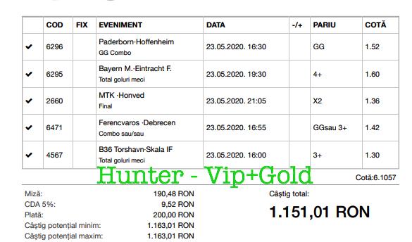 Bilet Vip+Gold cu castig 1151 lei - 24.05.2020