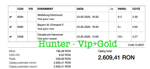 Bilet Vip+Gold cu castig 2609 lei - 24.05.2020