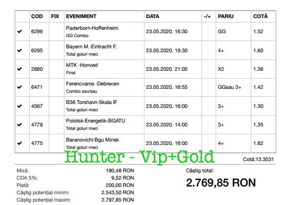 Bilet Vip+Gold cu castig 2769 lei - 24.05.2020