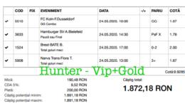 Bilet Vip+Gold cu castig 1872 lei - 25.05.2020