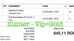 Bilet Vip+Gold cu castig 645 lei - 04.05.2020