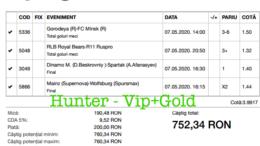 Bilet Vip+Gold cu castig 752 lei - 08.05.2020