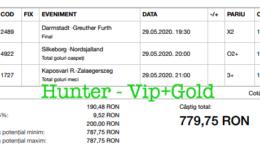 Bilet Vip+Gold cu castig 779 lei - 30.05.2020