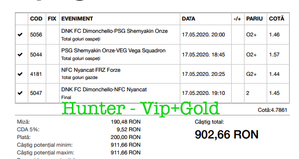 Bilet Vip+Gold cu castig 902 lei - 18.05.2020