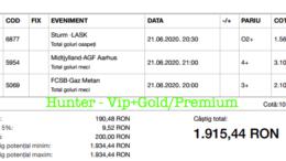 Bilet Vip+Gold/Premium cu castig 1915 lei - 22.06.2020