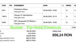 Bilet Vip+Gold/Premium cu castig 856 lei - 30.06.2020
