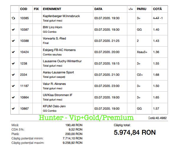 Bilet Vip+Gold/Premium cu castig 5974 lei - 06.07.2020