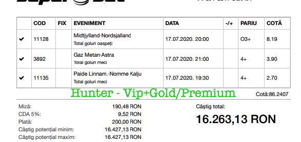 Bilet Vip+Gold/Premium cu castig 16263 lei - 18.07.2020
