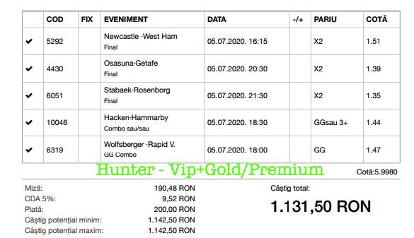 Bilet Vip+Gold/Premium cu castig 1131 lei - 06.07.2020