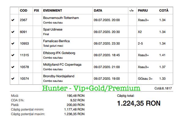 Bilet Vip+Gold/Premium cu castig 1224 lei - 10.07.2020