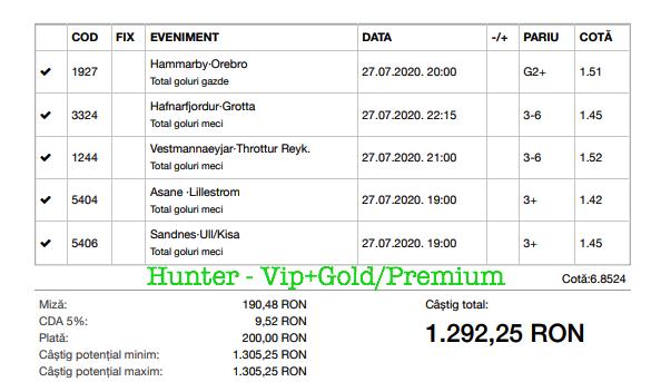 Bilet Vip+Gold/Premium cu castig 1292 lei - 28.07.2020