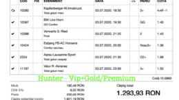 Bilet Vip+Gold/Premium cu castig 1293 lei - 06.07.2020