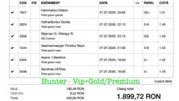 Bilet Vip+Gold/Premium cu castig 1899 lei - 28.07.2020
