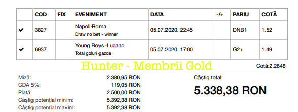 Castig 16966 cu biletele Gold - 05.07.2020