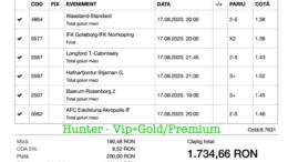 Bilet Vip+Gold/Premium cu castig 1734 lei - 18.08.2020