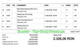 Bilet Vip+Gold/Premium cu castig 2326 lei - 15.08.2020