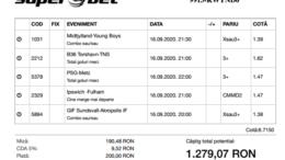 Biletul Zilei Pariuri 16.09.2020 - cota 5