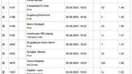 30 ponturi fotbal 26.09.2020 pentru biletul zilei