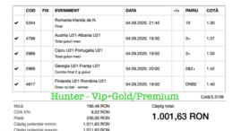 Bilet Vip+Gold/Premium cu castig 1001 lei - 05.09.2020