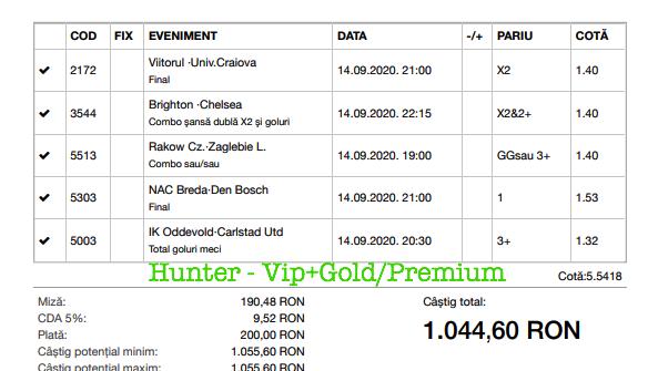 Bilet Vip+Gold/Premium cu castig 1044 lei - 15.09.2020