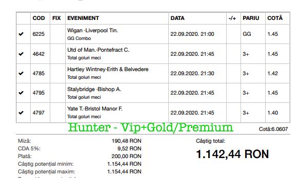 Bilet Vip+Gold/Premium cu castig 1142 lei - 23.09.2020