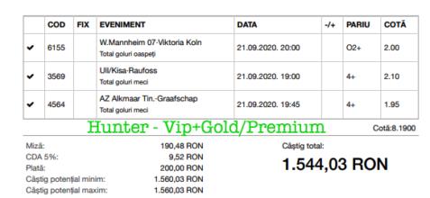 Bilet Vip+Gold/Premium cu castig 1544 lei - 22.09.2020