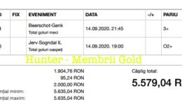 Castig 16130 cu biletele Gold - 15.09.2020