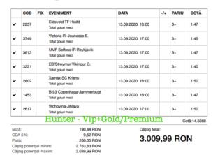 Bilet Vip+Gold/Premium cu castig 3009 lei - 14.09.2020