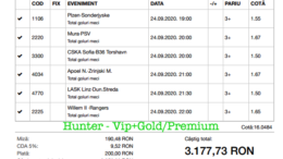 Bilet Vip+Gold/Premium cu castig 3177 lei - 25.09.2020