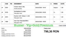 Bilet Vip+Gold/Premium cu castig 796 lei - 29.09.2020
