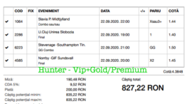 Bilet Vip+Gold/Premium cu castig 827 lei - 23.09.2020