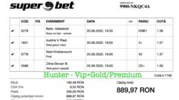 Bilet Vip+Gold/Premium cu castig 889 lei - 21.09.2020
